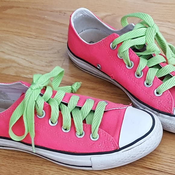 532469a0684 Converse Shoes - Converse neon pink   bright green laces - size 7
